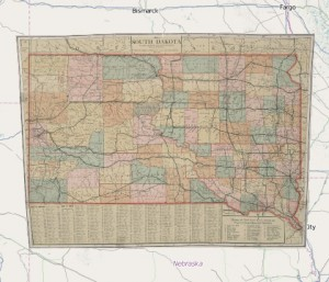 Highway map of SD in 1919.