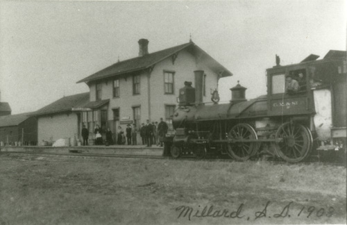 Gathering outside the Millard depot.