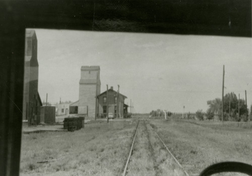 Hosmer Depot, as seen from a train car.