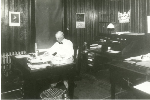 Yardmaster W.C. Westfall and his office at Aberdeen, SD yard